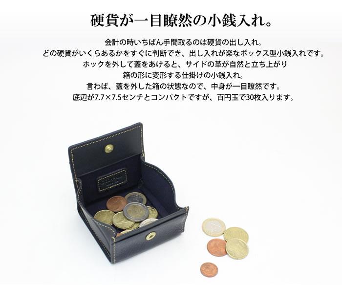 硬貨が一目瞭然の小銭入れ。