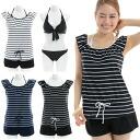 Swimsuit / French sleeve 細 horizontal stripe swimsuit dot bikini set / Lady's /