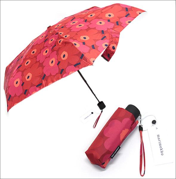 マリメッコ MINI-UNIKKO MINI MANUAL UMBRELLA ミニウニッコ柄 ミニマニュアル コンパクト 折りたたみ傘 アンブレラ  038653 301 red/dark red