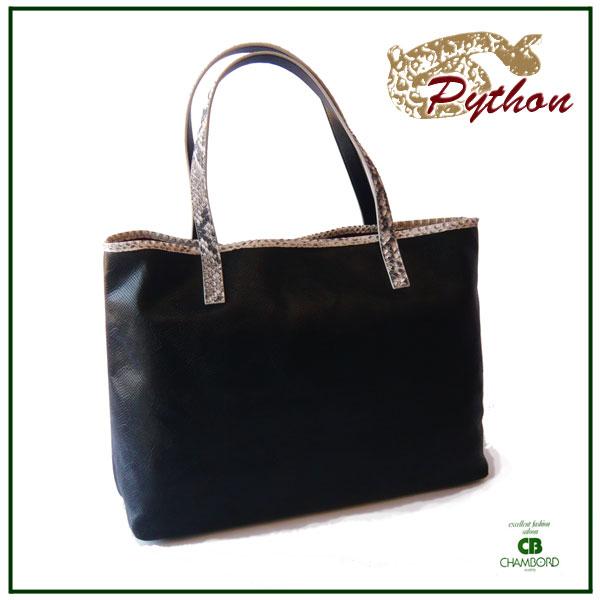 牛革&パイソン(蛇皮) トートバッグ (ブラック/レッド/ネイビー )