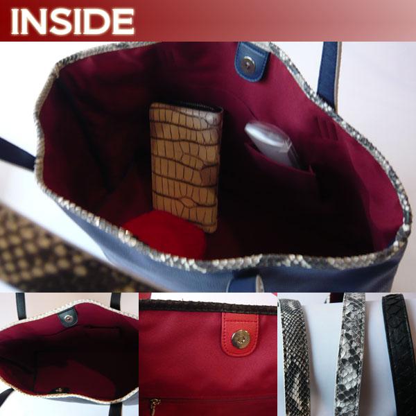 牛革& パイソン バッグ トートバッグ 大きい レディースバッグ
