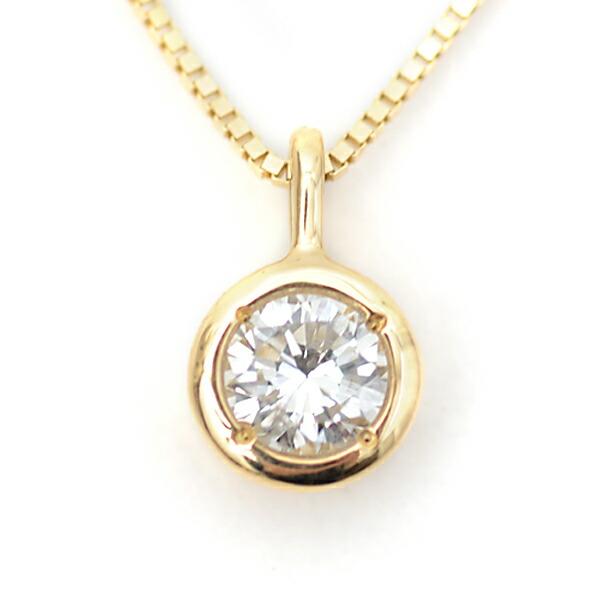 ダイヤモンドネックレス,ふせこみ枠のダイヤモンドプチネックレス,0.2ct