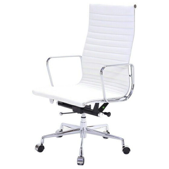eames office chair aluminum highback pad flat white leather leather