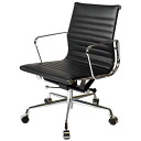 Eames Office Chair aluminum short back flat pad black leather leather