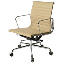 Eames office chair aluminum Nam shortstop back flat pad beige leather leather