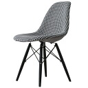 Eames DSW monotone organiccotton houndstooth check white / black shell Chair Dining chairs completed taking generic