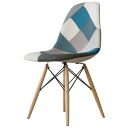 Eames DSW patchwork blue shell Chair dining chair