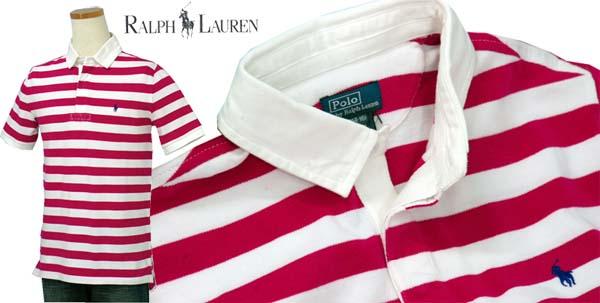 ラルフローレン ボーダー半袖鹿の子ラガーシャツ ピンク