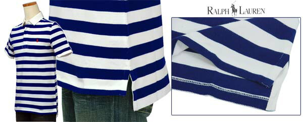 RALPH LAURENボーダー半袖鹿の子ラガーシャツ ブルー