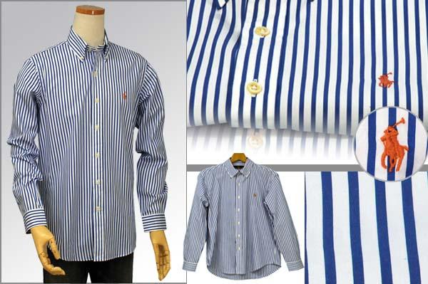 ラルフローレン 長袖ストライプシャツ ブルー/ホワイト