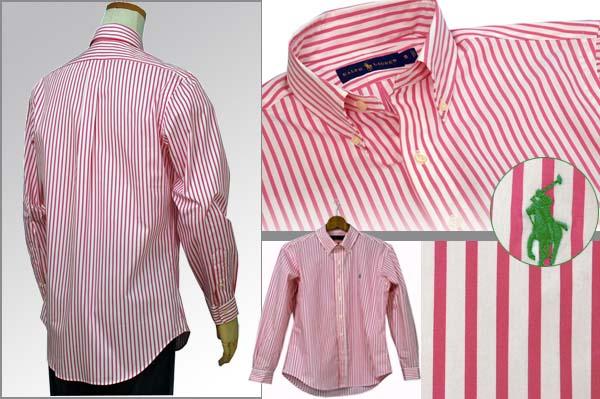 ラルフローレン 長袖ストライプシャツ ピンク/ホワイト