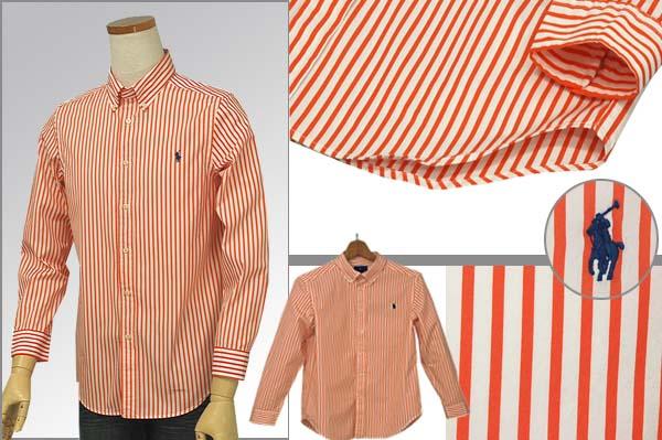 ラルフローレン 長袖ストライプシャツ オレンジ/ホワイト