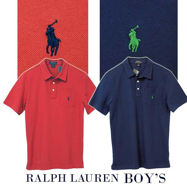 ラルフローレン ポケット付 半袖 鹿の子 ポロシャツ 赤 紺