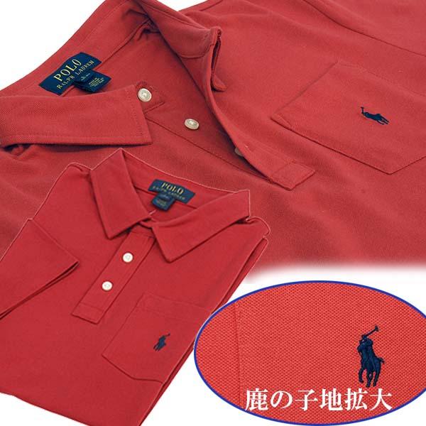 ラルフローレン ポケット付 半袖 鹿の子 ポロシャツ レッド