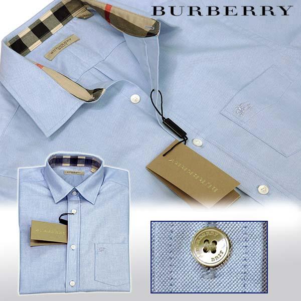 BURBERRYバーバリー ポケット付 半袖オックスフォードシャツ ブルー