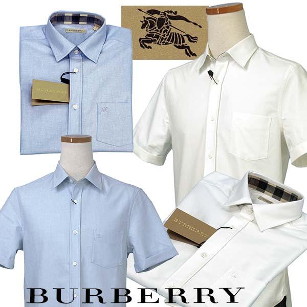 BURBERRYバーバリー ポケット付 半袖オックスフォードシャツ 青 白