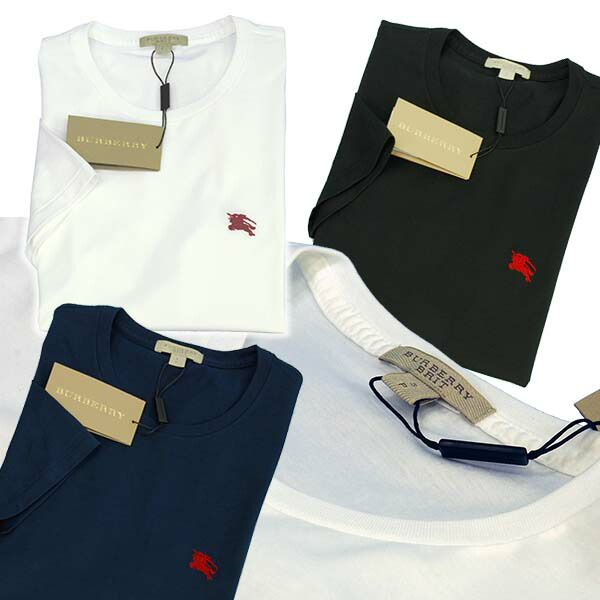 バーバリー 半袖クルーネックTシャツ クロ 白 紺