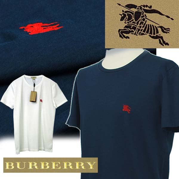 BURBERRYバーバリー 半袖クルーネックTシャツ ネイビー ブラック ホワイト