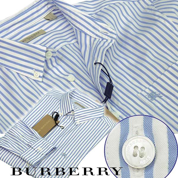 BURBERRYバーバリー ケット付 長袖ストライプ オックスフォードシャツ ブルー/ホワイト