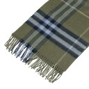 BURBERRY / Burberry cashmere scarf khaki / Navy x Smokey blue Plaid MU GIANT ICON 168 3878918 0284C BUL RUSH GREY CHECK BURBERRY fs3gm
