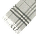 BURBERRY / Burberry cashmere scarf pale gray check MU GIANT ICON168 3915472 0500T PALE GREY MEL CHK