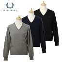 Fred Perry men's V neck long sleeved knit 3 colors MAGLIA SCOLLO V RIGHINE SU COLLO, SUPERG 30302235 FRED PERRY shake boobs どぺりー フレッドペリ-