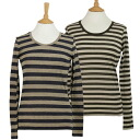 MAX MARA WEEKEND / maxmaraweek end women's long sleeve cut & sew TIRRENO 2 colors border 59760243 06 MARRONE/08 BLU MARINO