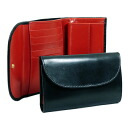 White House Cox tri-fold wallet with loose change into black / red THREE FOLD PURSE S7660 BLACK / RED WHITEHOUSE COX White House character White House Cox