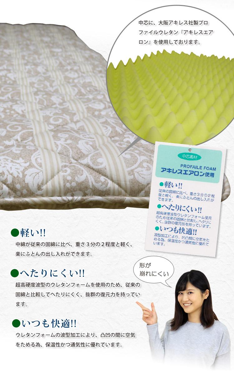 大阪アキレス社製プロファイルウレタン「アキレスエアロン」を中材に使用。軽くて厚くてしっかり固い敷き布団!