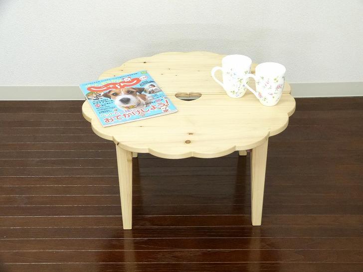 かわいい ミニテーブル ちゃぶ台 カントリー家具 ハート パイン材