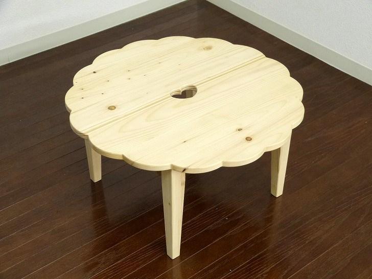 かわいい ミニテーブル ちゃぶ台 カントリー家具 ハート パイン材 折りたたみ