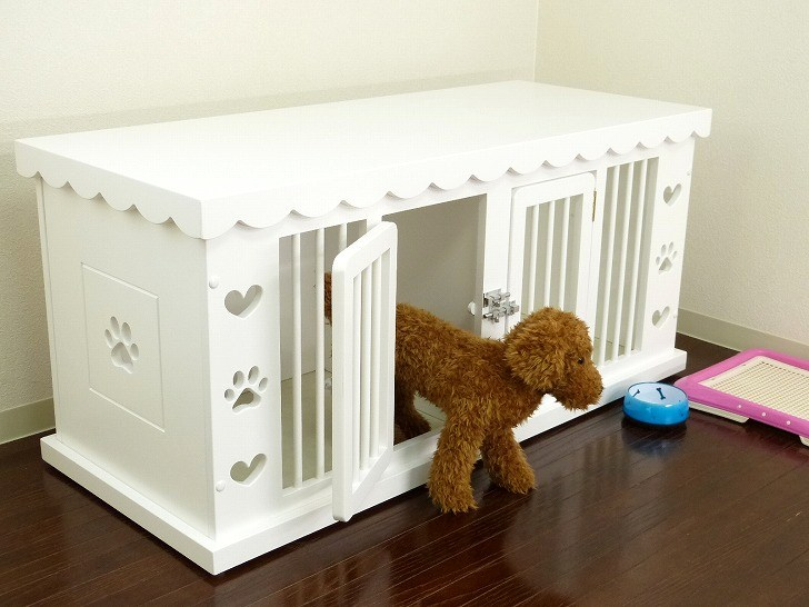 犬 ケージ ゲージ 白 ホワイト 高級 かわいい 犬小屋 木製