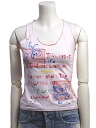 Cut & sew US size - XS / 5, sleeveless pink colorful stitching damage tank Womens tops #swi0017-XS