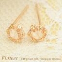 K10 yellow grain シャンパンキュービックジルコニア-Flower Earrings