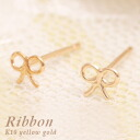 A cute Ribbon motif earrings instead signed K10 yellow and fluffy