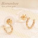 K10 18kt yellow gold, good luck Horseshoe motif earrings fs3gm