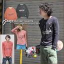 New year's SALE Barnes * RIVERSTONE ★ gauze tenjiku crew long sleeve t-shirt