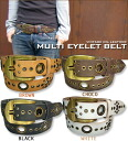 Multi-eyelet ☆ cowhide belt♪