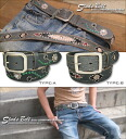 [] 3 color ★ studs cowhide belts♪