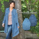 Discharge dyeing dot ★ vintage software denim shirt one piece♪