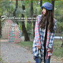 Crazy check ★ flannel shirt-dress♪