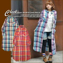 Yarn-dyed check ★ long length shirt-dress♪