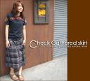 Check ☆ gathered skirt