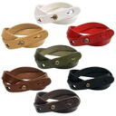 DOUBLE LEATHER BANGLE cowhide double ☆ breath