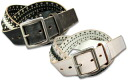 SAND OIL LEATHER CRACK LEATHER & STUDS BELT crack laser & studded belt