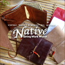 """NUBUCK & WASHED"" VINTAGE OIL LEATHER = NATIVE = STRING WORK WALLET 기본 ☆ 스트링 작업 지갑 = RED BEADS ="