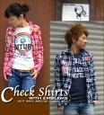 Badge ☆ check shirt