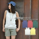 Horizontal stripe hem reshuffling ★ slab plain fabric tank top♪