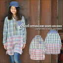 [Lime] lime * cotton linen check ★ switching long sleeve shirt dress!