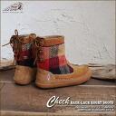 〔 〕 Wool check pattern ★ back lace boots!